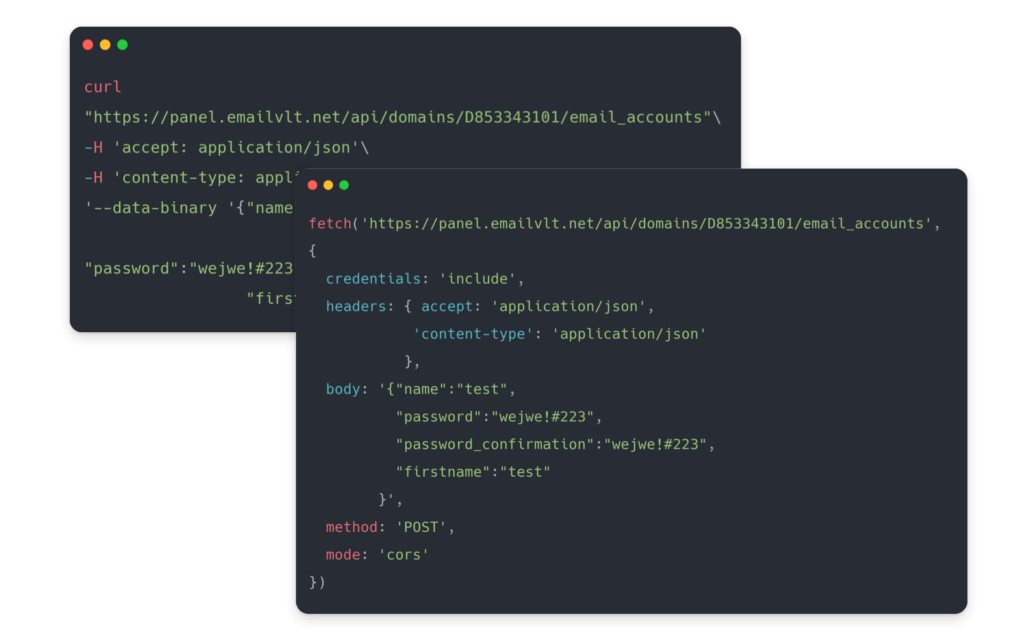 Email API example