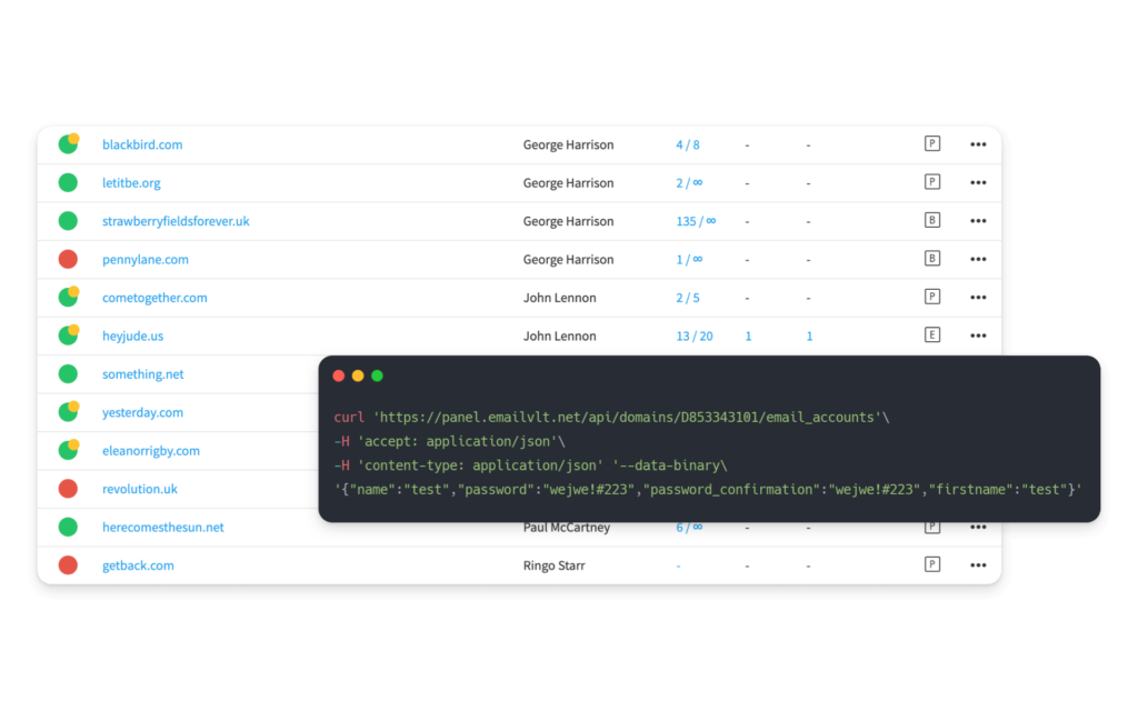 Qboxmail API and Control Panel