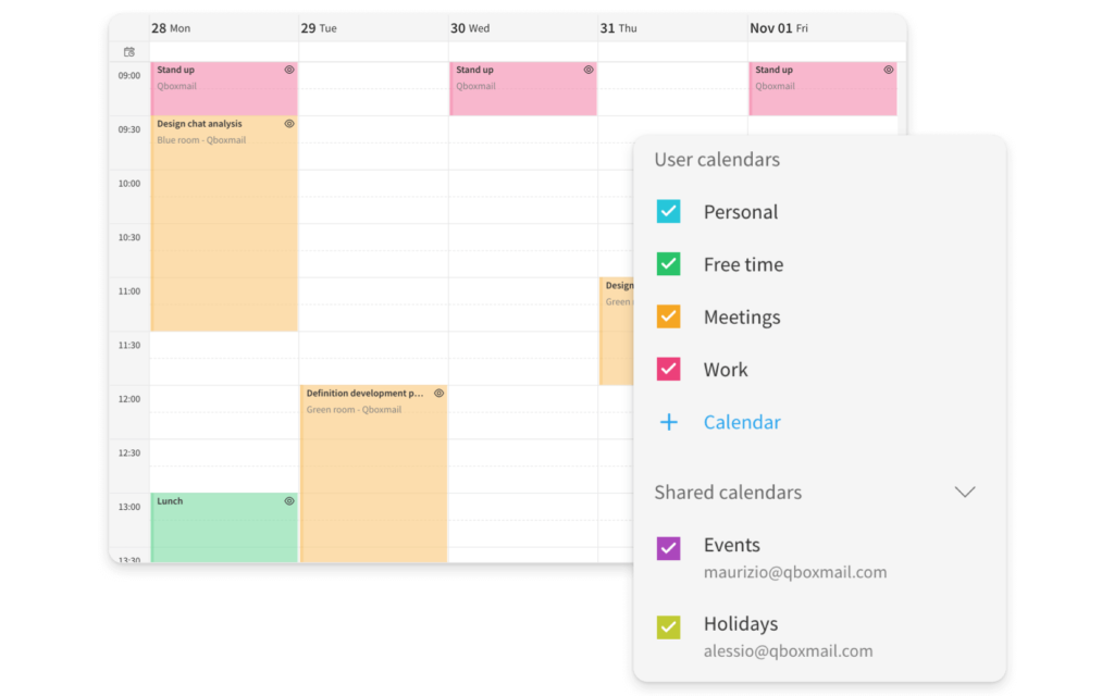 Webmail calendar Qboxmail