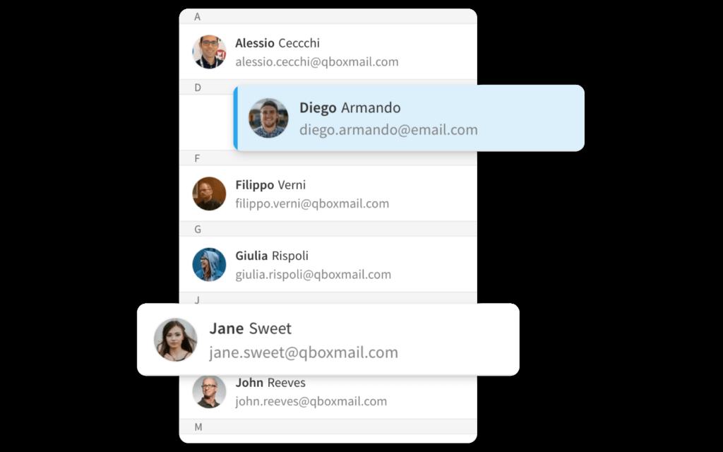 Webmail address book Qboxmail